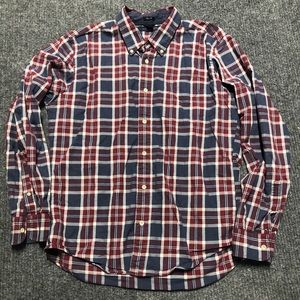 Tommy Hilfiger button red and blue plaid shirt